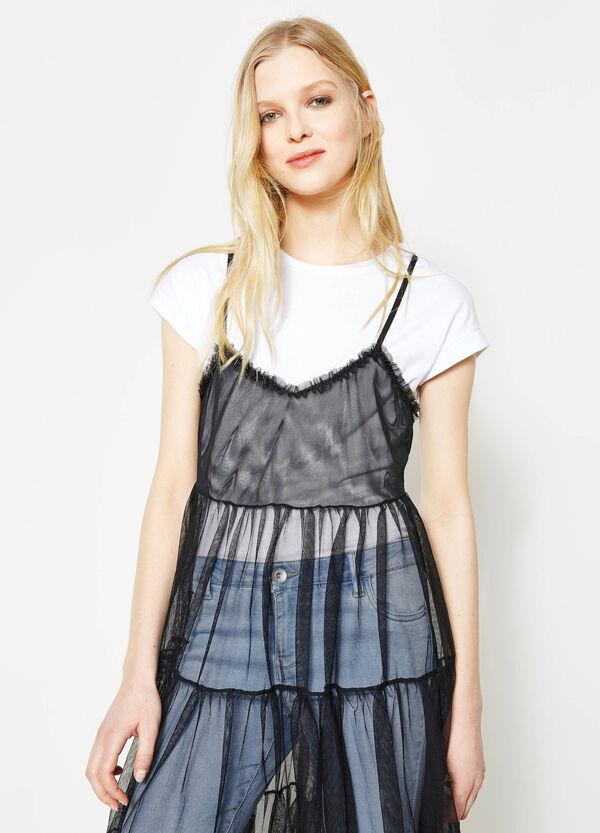 Sleeveless semi-sheer tulle dress | OVS