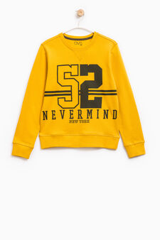 100% cotton printed hoodie, Yellow, hi-res