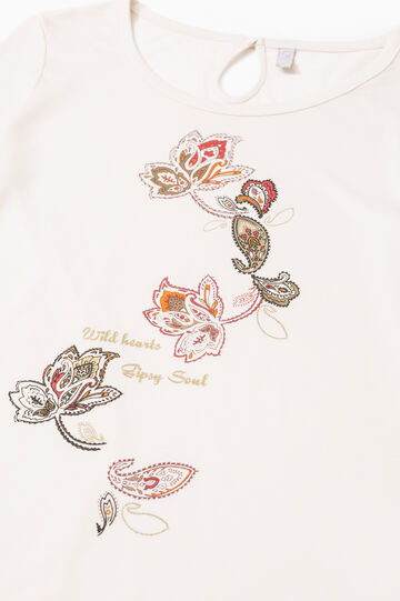 Pyjama top with lace and print, White, hi-res