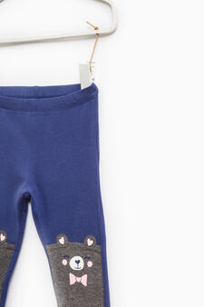 Cotton trousers with glitter print, Navy Blue, hi-res