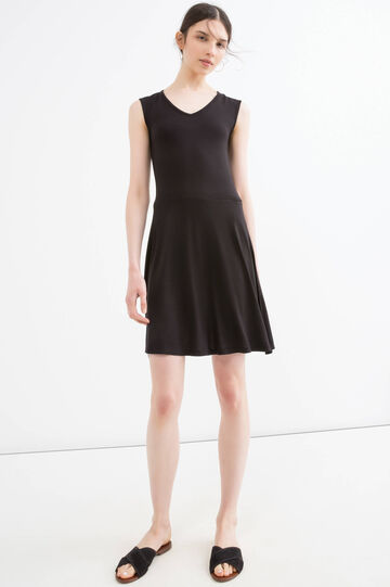 Solid colour short dress in 100% viscose, Black, hi-res