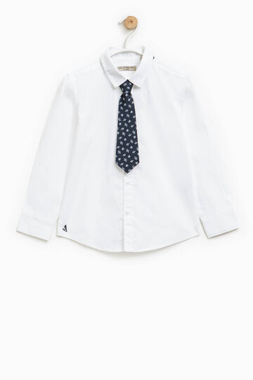 Shirt in 100% cotton with tie, Optical White, hi-res