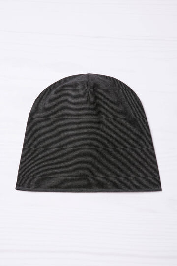 Striped beanie cap., Black/Grey, hi-res