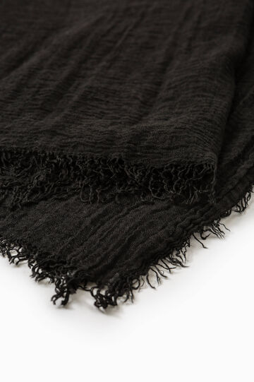 Solid colour viscose blend scarf, Black, hi-res