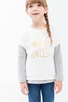 Completo t-shirt e felpa puro cotone, Bianco latte, hi-res