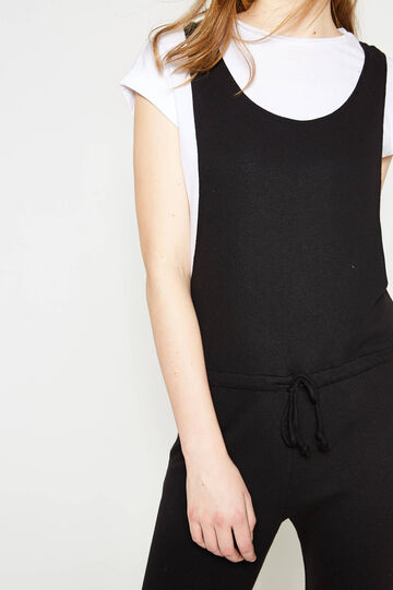 Sleeveless playsuit with drawstring, Black, hi-res