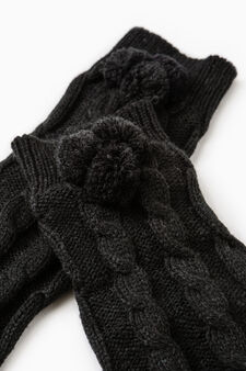 Knitted leg warmers with pompoms, Black, hi-res