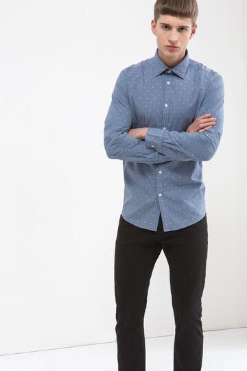 Camicia micro quadri puro cotone, Blu chiaro, hi-res