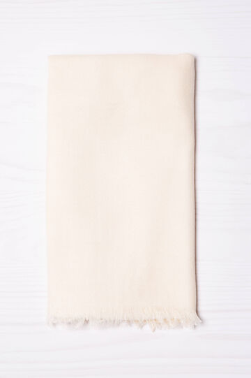 Viscose blend scarf with fringing, Chalk White, hi-res