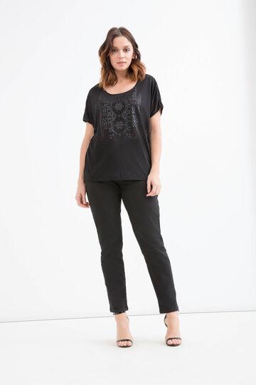 T-shirt stampata in cotone Curvy, Nero, hi-res