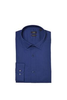 Custom-fit, stretch poplin shirt, Blue, hi-res