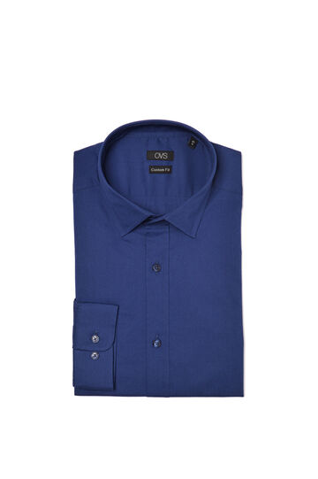 Camicia custom fit in popeline stretch, Blu, hi-res