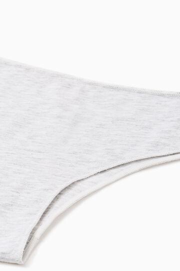Solid colour stretch cotton Brazilian cut briefs, Grey Marl, hi-res