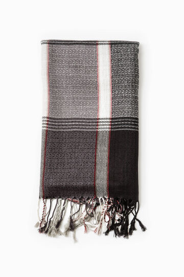 Viscose scarf with check pattern, Black/Grey, hi-res
