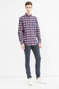Casual large check shirt in 100% cotton, Blue/Red, hi-res