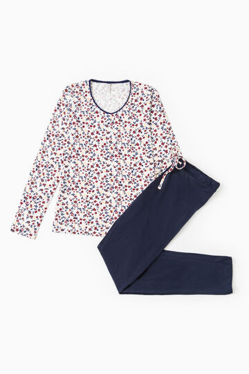 Floral pattern pyjamas in 100% cotton, Cream White, hi-res