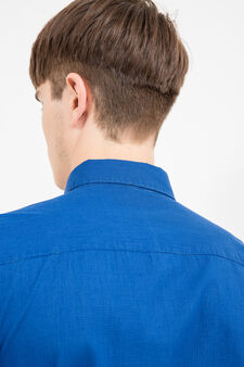 Slim-fit micro-check casual shirt, Blue, hi-res