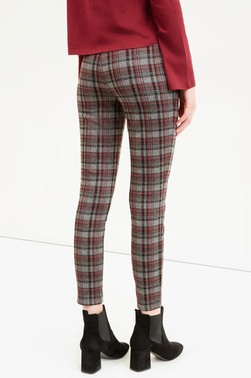 Check viscose blend trousers, Grey/Red, hi-res
