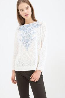 Cotton blend printed sweatshirt, Soft White, hi-res