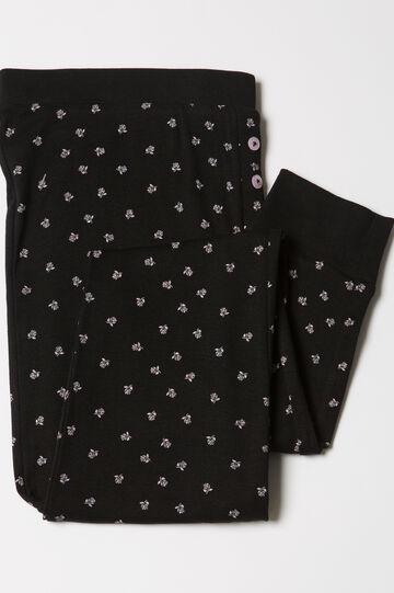 Cotton patterned pyjama trousers, Black/Pink, hi-res