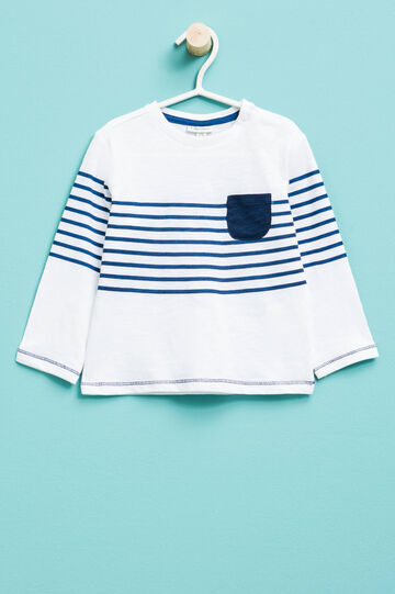 T-shirt with striped print, White/Blue, hi-res