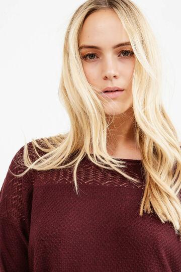 Curvy viscose blend openwork pullover, Aubergine, hi-res