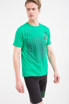 T-shirt sportiva puro cotone stampa, Verde scuro, hi-res