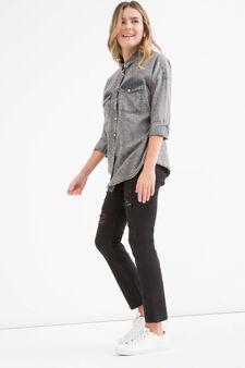Camicia jeans effetto used Teen, Grigio, hi-res