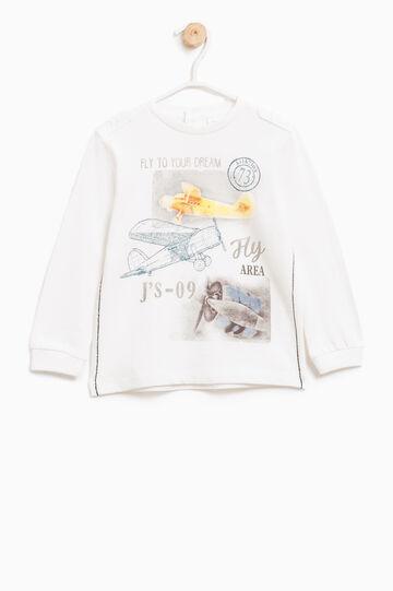 T-shirt con mostrine, Bianco latte, hi-res