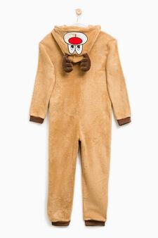 Tuta pigiama in pelliccetta con cappuccio, Marrone chiaro, hi-res