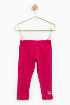 Stretch embroidered cotton trousers, Fuchsia, hi-res