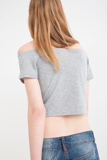 Viscose crop T-shirt, Grey Marl, hi-res