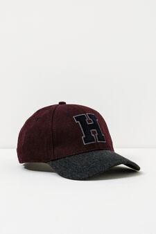 Cappello da baseball patch lettering, Rosso bordeaux, hi-res