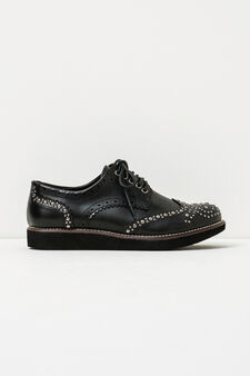 Solid colour brogues with studs, Black, hi-res