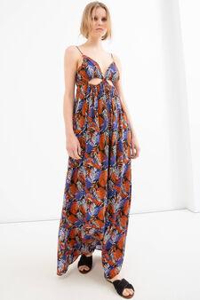 Long viscose patterned dress, Black, hi-res