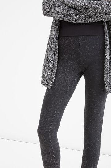 Mis-dyed stretch cotton leggings, Black, hi-res