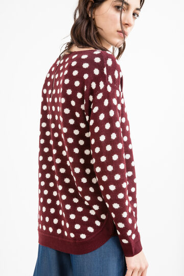 Pullover with polka dot pattern, Aubergine, hi-res