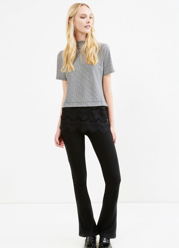 Stretch viscose T-shirt with lace | OVS
