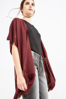 Cape with shawl neck and fringe, Aubergine, hi-res