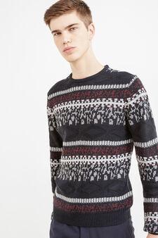 Pullover girocollo tricot fantasia, Nero/Rosso, hi-res
