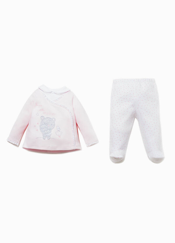 T-shirt and polka dot patterned baby leggings outfit | OVS