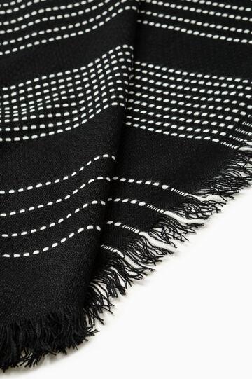 Patterned scarf with fringe, Black/White, hi-res