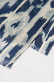 Scarf with contrasting colour print., Blue, hi-res