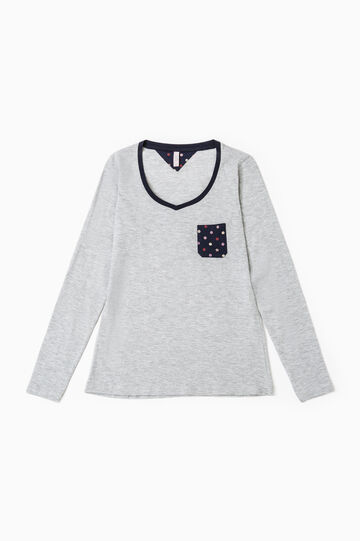 V-neck cotton pyjama top, Grey Marl, hi-res