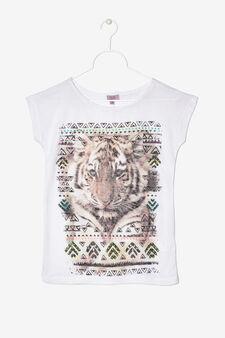 T-shirt viscosa con stampa, Bianco, hi-res