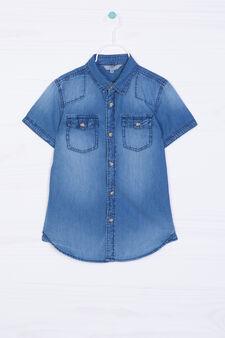 Camicia di jeans effetto delavé, Blu, hi-res