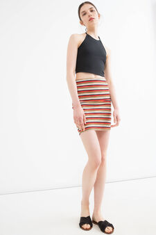 Stretch striped viscose skirt, Black/Grey, hi-res