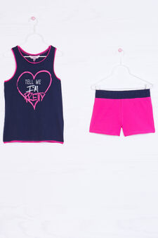 Stretch cotton outfit with print, Blue/Pink, hi-res
