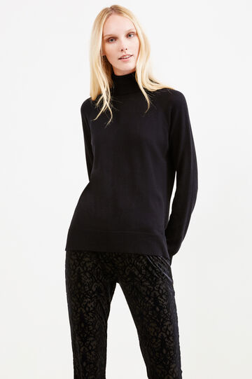 Solid colour viscose blend turtleneck jumper, Black, hi-res