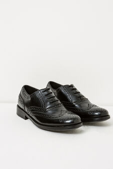 Solid colour Oxford-style shoes, Black, hi-res